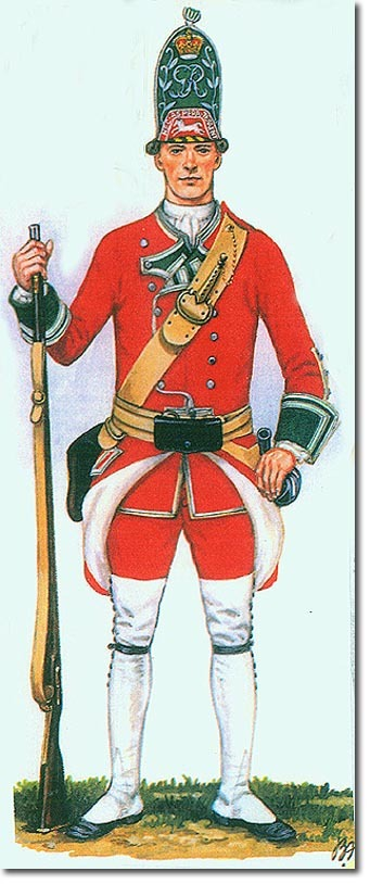 The Uniform of a soldier of 24th Regiment of foot in the 18th Century, approximately 100 years before the Battle of Rorke's Drift