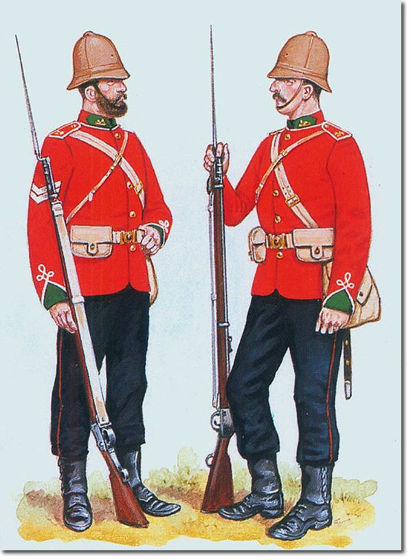 The Uniform of soldiers of the 24th of Foot during the second half of 19th century. This is very close to what they would have worn at the Battle of Rorke's Drift