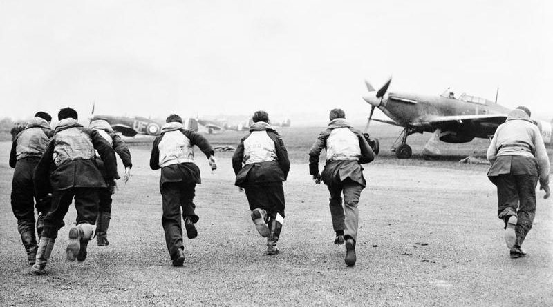 British Pilots scramble during the Battle of Britain
