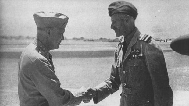 General Eisenhower thanks Keith Park for the Aerial cover provided for the invasion of Siciliy