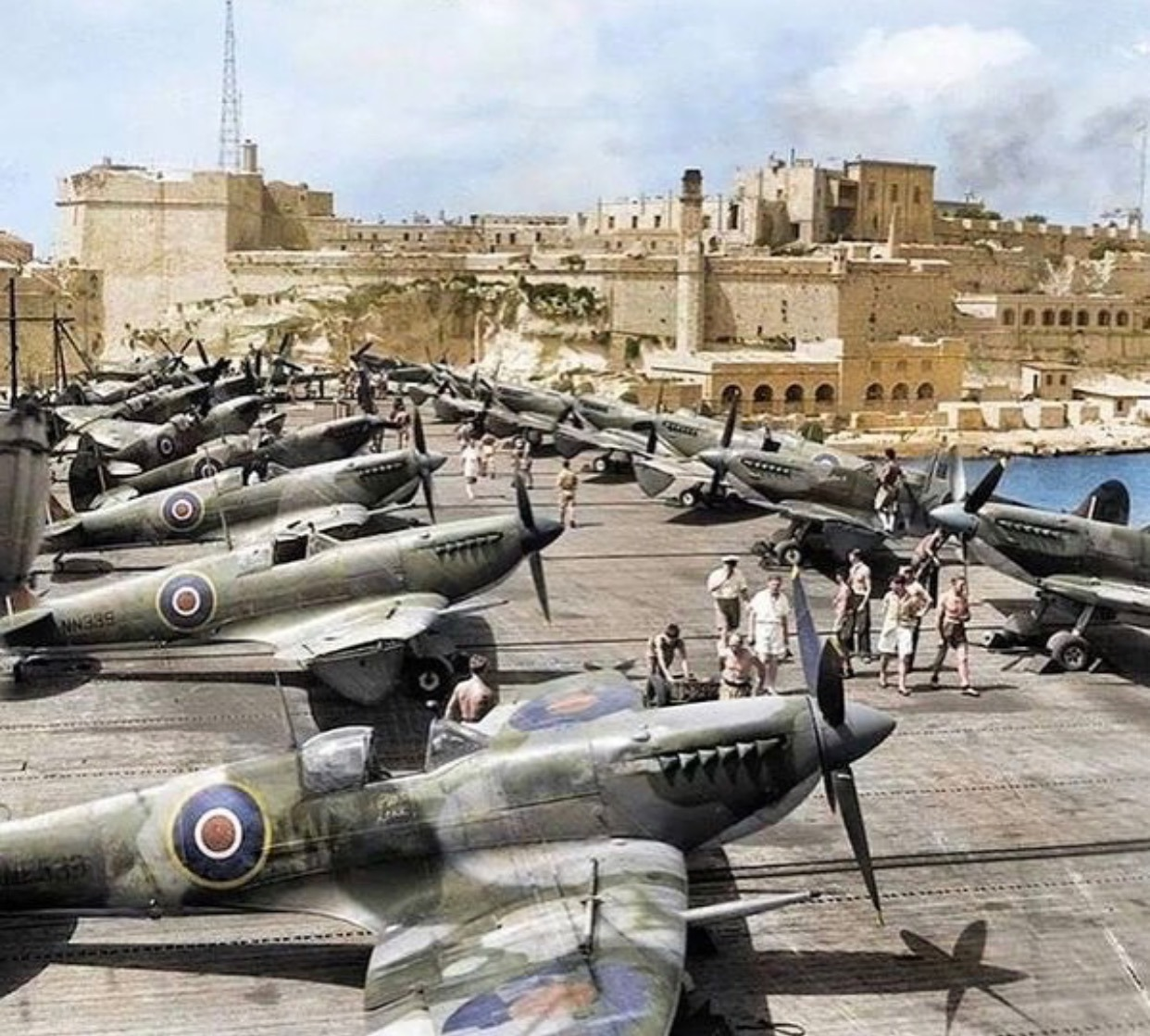 British Spitfires in Malta and ready for action, 1942