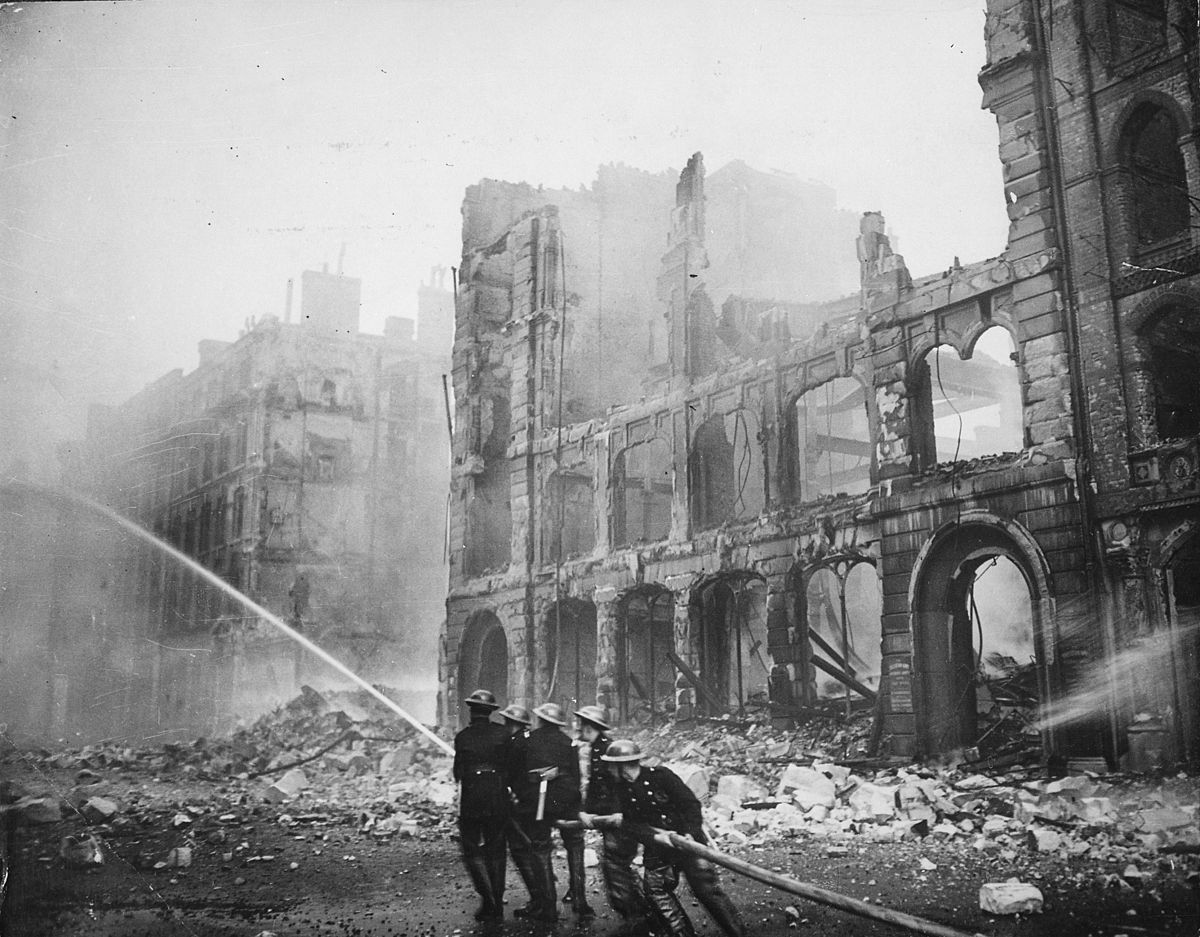 Fireman working during the Blitz